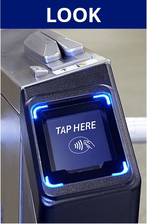 Look. Image of turnstile payment acceptor with Contactless merchant acceptance symbol.