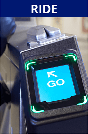 Ride. Image of turnstile payment acceptor indicating 'Go'
