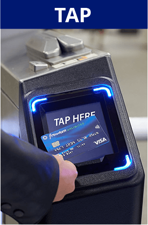 Tap. Image of turnstile payment acceptor with Chase Freedom Unlimited Visa credit card tapping on it. Screen images simulated.
